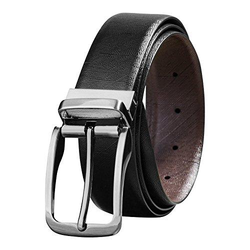 - Savile Row Men's Top Grain Leather Belt Fashion Design Reversible Buckle (40)