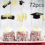 Chengu 72 Pieces Graduation Cupcake Toppers, 2019 Cap Graduation Picks...