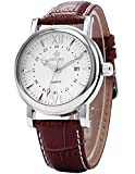Orkina Mens White Dial Coffee Leather Sport Date Quartz Wrist Watch ORK107