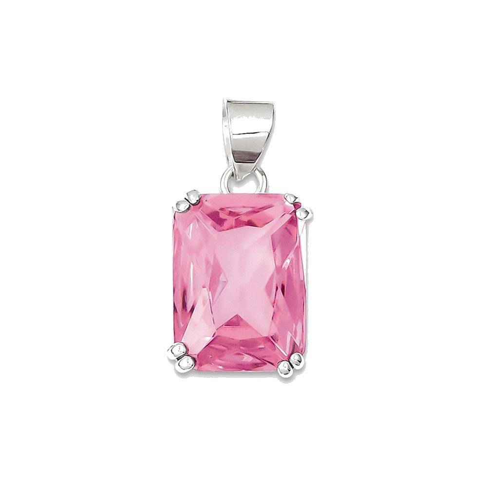 Goldia Sterling Silver Rectangle Pink CZ Pendant