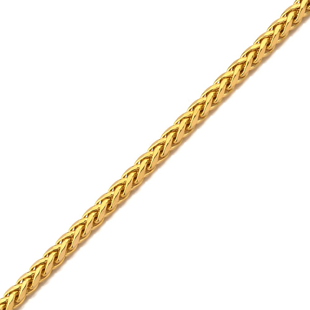 LoveBling 10K Yellow Gold 4mm 7'' Wheat, Palm Chain Bracelet with Lobster Lock