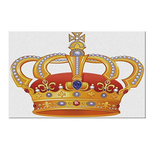 YOLIYANA King Durable Door Mat,Royal Crown with Gem Like Image Symbol of Imperial Majestic Print for Home Office,19.6
