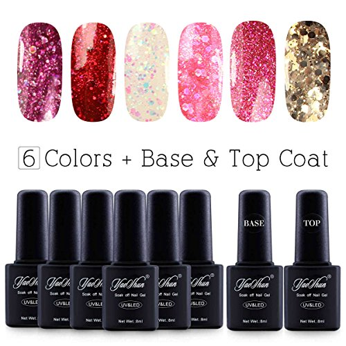 Yaoshun Glitter Soak Off UV Led Gel Nail Polish Base and Top