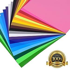 "Heat Transfer Vinyl Bundle | 12 Sheets + 1 Bonus Teflon Sheet Iron On | HTV Silhouette for Cameo, Cricut, Die-Cut or Heat Press Machine | Assorted Colors | 12""x10"""