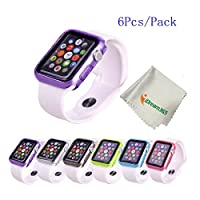 Apple Watch Case,iDream365(TM) Apple Watch 38mm Case-6 Color Combination Pack Protective TPU Case for Apple Watch 38mm (2015) Only+Microfiber Cloth