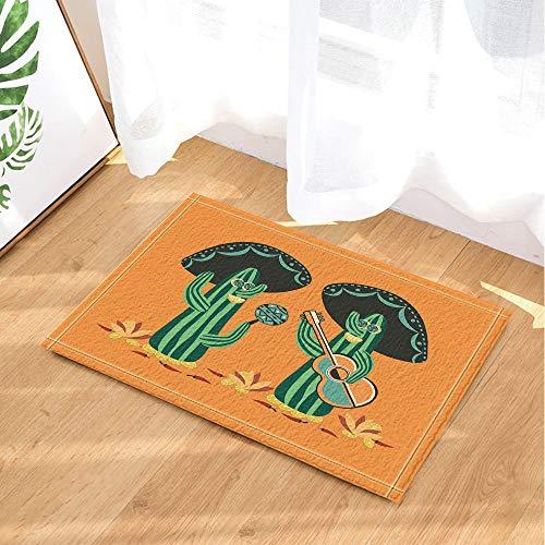 Desert Mexican Natural Plant Decor,Cactus Mariachi with Guitar and Maracas Bath Rugs,Non-Slip Doormat Floor Entryways Indoor Front Door Mat,Kids Bath Mat,15.7x23.6in,Bathroom -
