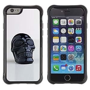 iArmor / Hybrid Anti-Shock Defend Case / 3D Printed Plastic Skull Death Black / Apple iPhone 5s