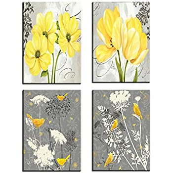 Amazon yellow and gray grey flowers birds wall art abstract yellow and gray grey flowers birds wall art abstract print canvas home decor pictures 4 panels mightylinksfo