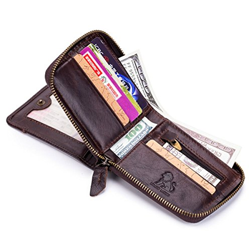 JOSEKO Card Holder Wallet, RFID Antimagnetic Vintage Genuine Leather 13 Card Slots Coin Bag Trifold Wallet for Men Black 3.54''x 1.18''x 4.72''(LxWxH) (Black Tri Fold Card)