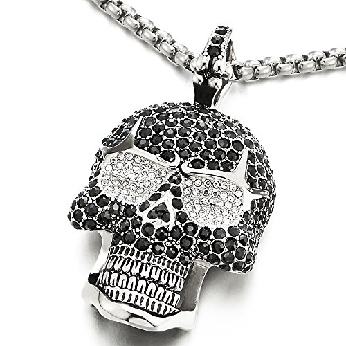 COOLSTEELANDBEYOND Steel Large Sugar Skull Pendant Necklace for Men Women with Cubic Zirconia and 30 inches Wheat Chain]()