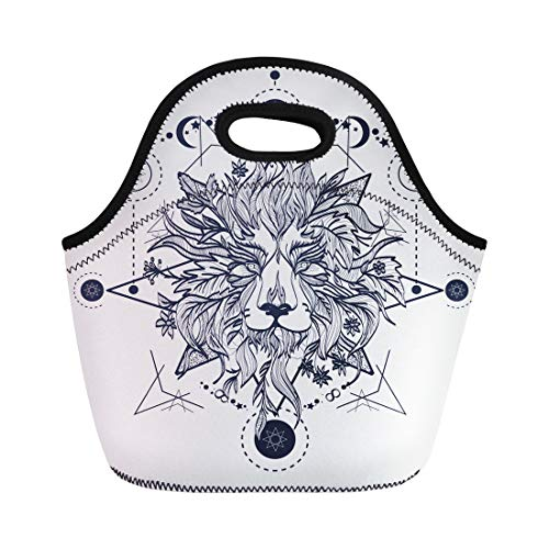 Lion Head Tattoos - Semtomn Neoprene Lunch Tote Bag Ornamental Tattoo Lion Head Mystic Sketch Alchemy Religion Spirituality Reusable Cooler Bags Insulated Thermal Picnic Handbag for Travel,School,Outdoors,Work