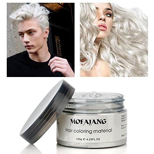 Temporary White Hair Color Spray (MOFAJANG Hair Color Wax Temporary Hairstyle Cream 4.23 oz Hair Pomades Natural White Hairstyle Wax for Men and Women (White)