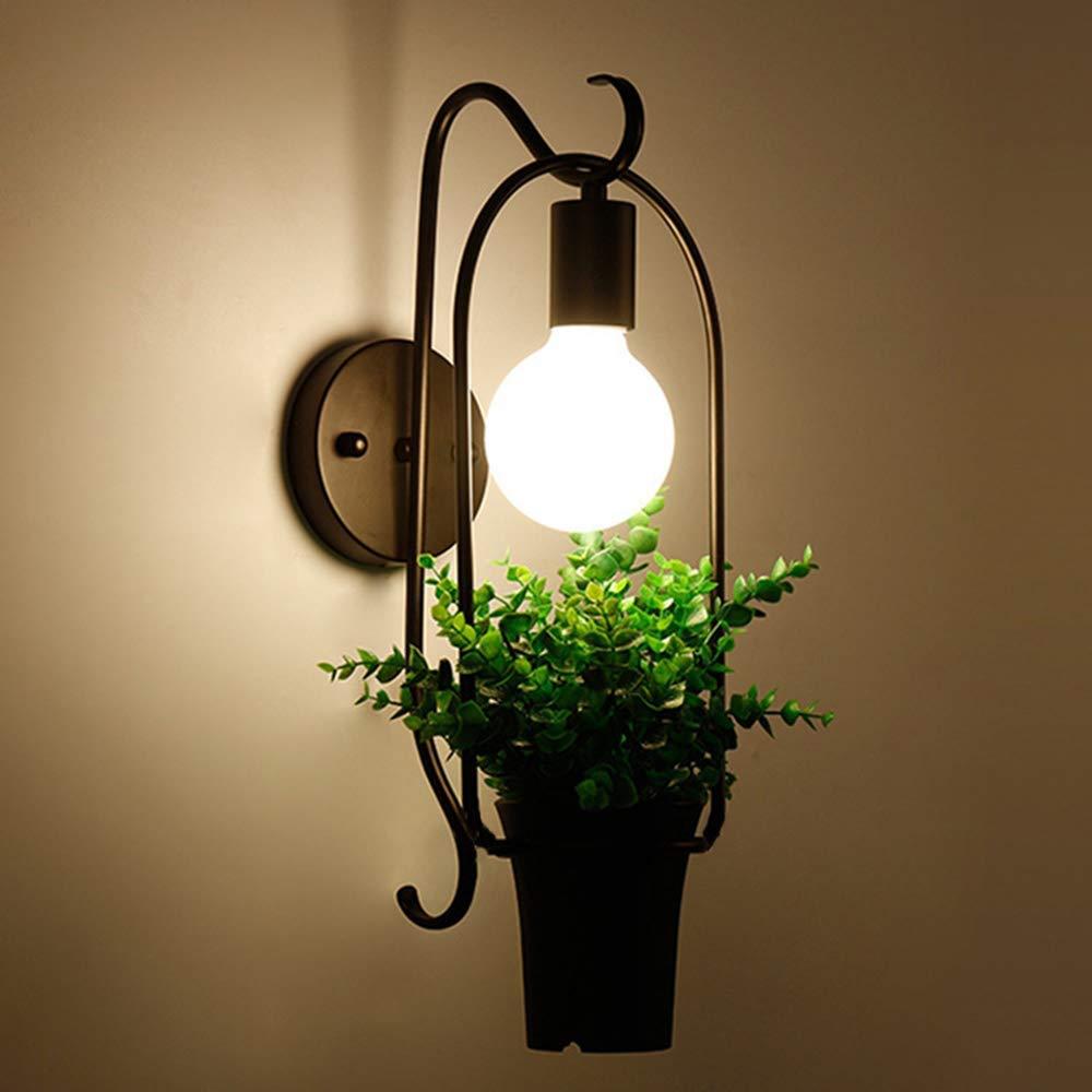 MEILIWU luce della lampada da parete, lampada della pianta parete, supporto E27, 220V di tensione, lacca Ferro battuto geometrica curva, nero Corpo di Luce + verde vaso-D26  H45cm