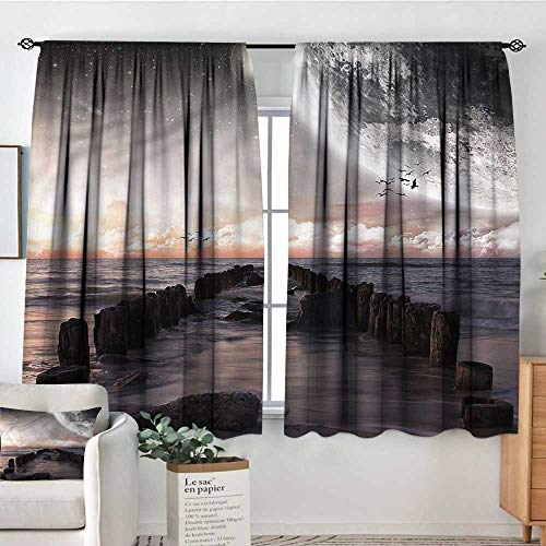 PriceTextile Space,Printed Backout Curtains Old Pier Sea and Beach 52