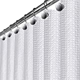 Waffle White Fabric Shower Curtain - includes FREE PEVA Liner, Hotel Quality Waterproof Decorative Curtain for Bathroom, Mildew Resistant and Rustproof Metal Grommets 72 x 72 inch (290 GSM)