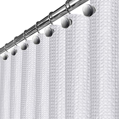 Waffle White Fabric Shower Curtain - includes FREE PEVA Liner, Hotel Quality Waterproof Decorative Curtain for Bathroom, Mildew Resistant and Rustproof Metal Grommets 72 x 72 inch (290 GSM) (Best Shower Curtain Material)