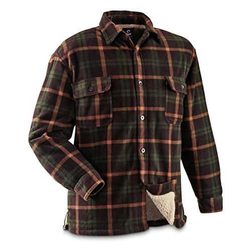 Guide Gear Mens Sherpa Lined Fleece CPO Shirt (Sherpa Guide)