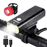 LED Bike Lights Front and Back, USB Rechargeable Bike Light Set, 5 Light Modes 600 Lumens Super Bright Bicycle Lights, Bike Headlight, Waterproof, Free Tail Light Included For Sale