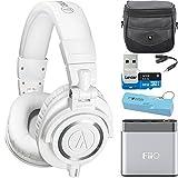 Audio-Technica ATH-M50X Professional Studio Headphones (White) Portable Headphone Amp Bundle includes Headphones, Amplifier, Keychain Power Bank, Bag, Splitter and 32GB MicroSD High-Speed Memory Card