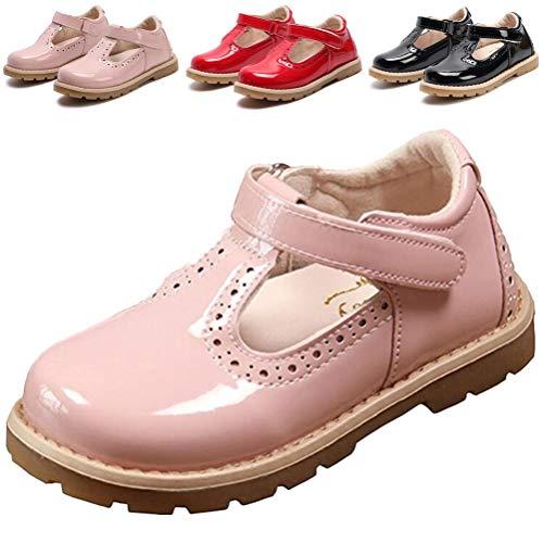 DADAWEN Girl's T-Strap School Uniform Dress Shoe Mary Jane Princess Flat Pink US Size 11 M Little Kid from DADAWEN