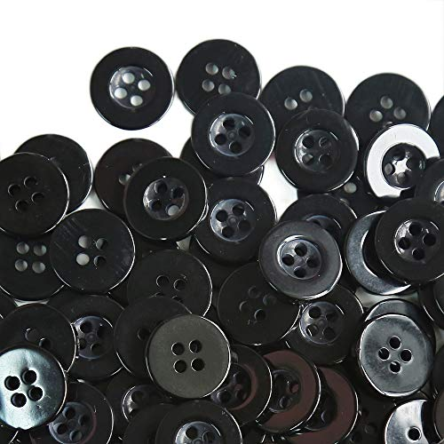 GANSSIA 15mm Button 5/8 Inch 4 Holes Sewing buttons Black Color Pack of 200pcs