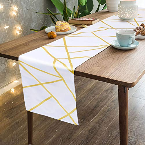 OurWarm Modern Table Runner Gold Geometric Pattern White Table Runner for Wedding Birthday Home Party Holiday Table Decorations, 12 x 72 -
