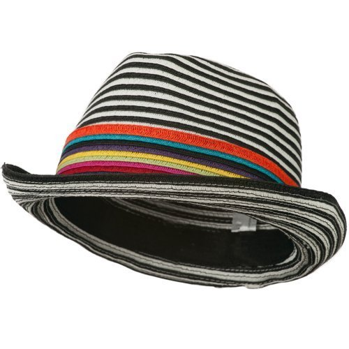 Striped Straw Hat (Women's Striped Design Fedora Hat with Multi-Color Band - Black White OSFM)