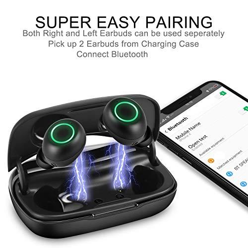 GIEC True Wireless Earbuds Bluetooth Earbuds Wireless Headphones in Ear Built-in Mic Headset Wireless Earphones,90 Hours Playtime,Phone Holder,Power Bank,IPX5 Splashproof Sports Earbuds,LED Display