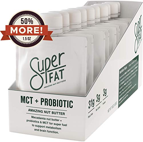 - SuperFat Nut Butter Keto Snacks - Macadamia & Almond Nut Butter Fat Bomb Paleo Snack For Energy, Metabolism & Brain Function, Vegan, Gluten Free, Low Net Carb Box of 10 x 1.5 oz (MCT + Probiotic)