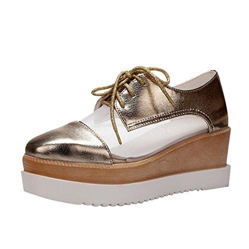 Mee Shoes Damen Keilabsatz Durchgängiges Plateau Schnürhalbschuhe Gold