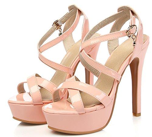 YE Damen Peep Toe High Heels Sandalen Plateau Stiletto Lack