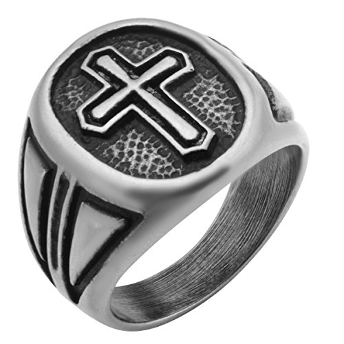 (Tribal Hollywood Passion Cross Weathered Stainless Steel Mens Cross Ring -Size 11)