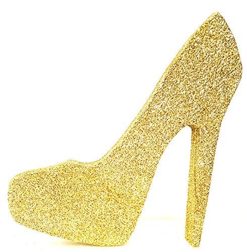 High Heel Stiletto Shoe (Gold Glitter, 6 inch) (Gold High Heel Cake Topper)