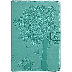 A-BEAUTY iPad Mini Funda, Apple iPad Mini 3/2 / 1 Cover, Folio Cuero de PU de Primera Calidad con Lindos Diseños en Relieve Que Incluyen Gato, Árbol, Mariposa Smart Funda Carcasa, Verde