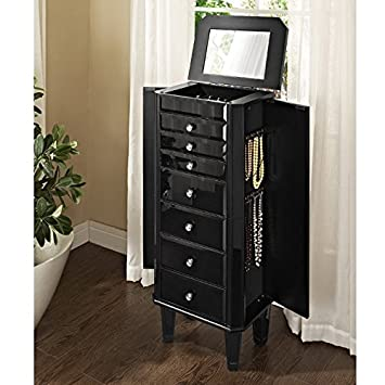Amazoncom Powell Furniture Glass Jewelry Armoire Black Home