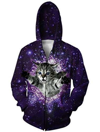 RAISEVERN Galaxy Cat Print Zip Up Pockets Pullover Hoodie Sweatshirt Couple