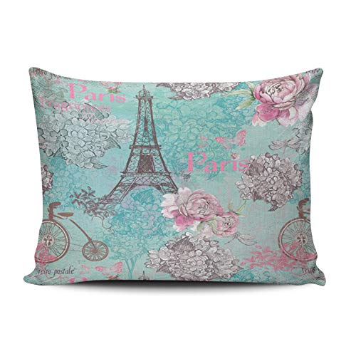XIUBA Pillowcases Aqua Turquoise and Pink Vintage Paris Eiffel Tower Flowers Bicycle Customizable Decorative Rectangle 12x16 inch Boudoir Size Throw Pillow Case Hidden Zipper One Side Design Printed ()