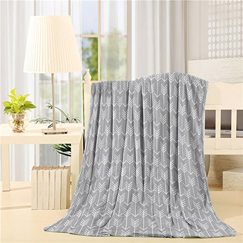 "Price comparison product image SUN-Shine Flannel Fleece Luxury Throw Blanket Arrow Gray 40""x50"" Reversible Fuzzy Bed Throws Microfiber All Seasons Luxury Fluffy Blanket for Bed or Couch"