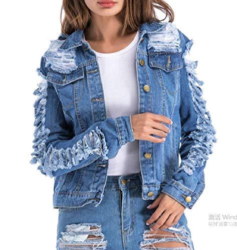 donne Del Denim size Plus Giù Howme Girano Strappato Blu Foro Outwear d0pBwZSq