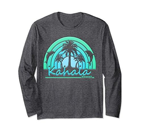 Unisex Kahala, Hawaii Dolphins, Palm Trees, Sunset Tshirt 2XL Dark - Kahala Hi