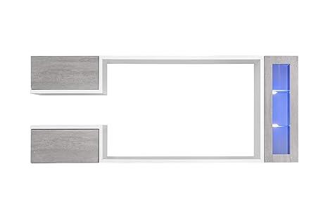 Mueble de salón Modelo Urko Color Blanco y Gris Cemento (2 ...