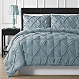 Bed in a Bag 7-PC Comfy Bedding Durable Stitching Pinch Pleat Comforter and Sheet Set (Full, Spa Blue)