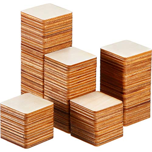 Unfinished Wood Pieces Blank Wood Squares Round Corner Wooden Cutouts for DIY Supplies, Craft, Decoration, Laser Engraving Carving (1.5 x 1.5 Inch, 150 Pieces) -