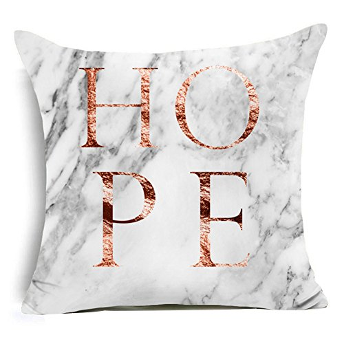 Aremazing Modern Rose Gold White Marble Pattern Super Soft Throw Pillow Case Cushion Cover Home Decor 18 X 18 Inches (Hope Throw Pillow)