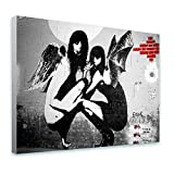 Alonline Art - Kneeling Angels Drunken Banksy Framed Stretched Canvas (100% Cotton) Gallery Wrapped - Ready to Hang | 39''x29'' - 98x74cm | Framed Art Framed Artwork Framed Wall Decor for Living Room