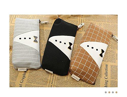 bigforest Vintage Krawatte Stil Leinwand Federmäppchen Pen Tasche Kosmetik Make-up Tasche mit Reißverschluss für Mädchen Jungen shcool Set von 3