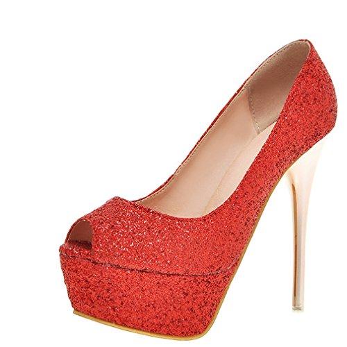 Enmayer Donna Primavera E Lestate Paillettes Fresca Tendenza Scarpe Col Tacco Alto Piattaforma Rosso