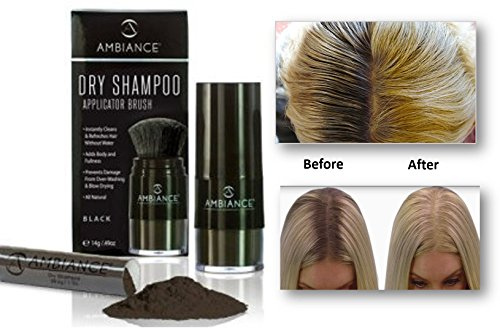 Ambiance Dry Shampoo Applicator/Refill Combo Pack (Black), Volumizing Tinted Powder Absorbs Excess Oil To Clean and Refresh Hair, Blends With Black Shades To Cover Gray/Roots Without White Residue (Wash Volumizing Shampoo)