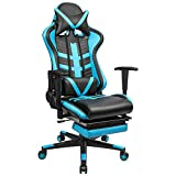 Homall Gaming Chair Ergonomic High-Back Racing Chair Pu Leather Bucket Seat,Computer Swivel Office Chair Headrest and Lumbar Support Executive Desk Chair with Footrest(Blue/black)
