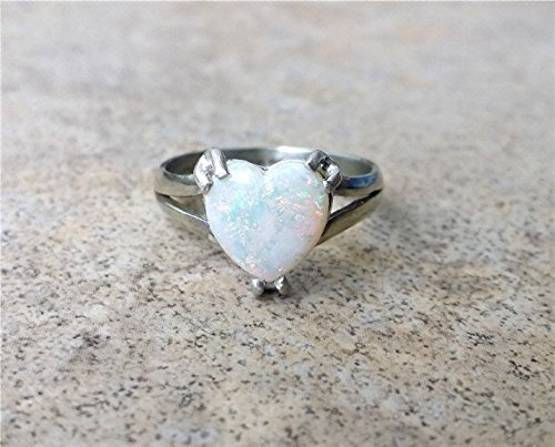 Opal ring / Genuine Opal ring - in Sterling Silver or gold - White Opal / Opal Heart ring / October Birthstone by Ashpreys